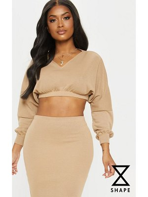 PrettyLittleThing shape cropped sweat v neck top
