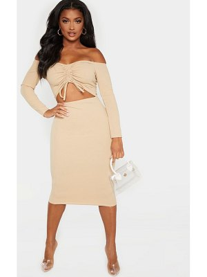 PrettyLittleThing shape cut out ruched front midi dress