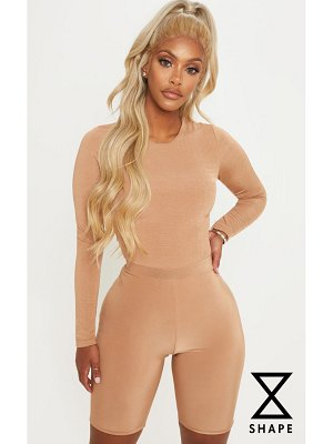 PrettyLittleThing shape dark camel slinky long sleeve bodysuit