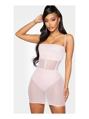 PrettyLittleThing shape dusty lilac mesh binding detail bodycon dress
