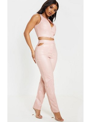 PrettyLittleThing shape dusty pink faux leather cut out detail straight leg trouser