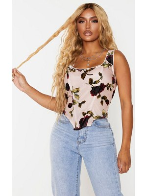 PrettyLittleThing shape dusty pink floral print velvet corset top