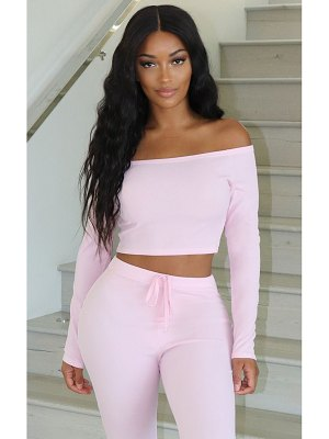 PrettyLittleThing shape dusty pink ribbed bardot long sleeve crop top