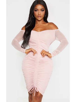 PrettyLittleThing shape dusty rose mesh ruched bardot midi dress