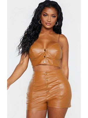PrettyLittleThing shape faux leather button front bralet