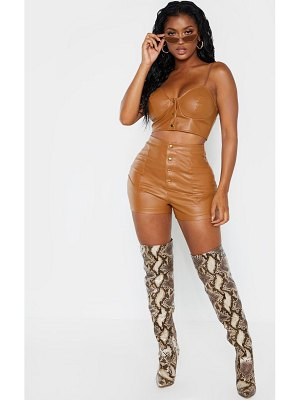 PrettyLittleThing shape faux leather button front shorts