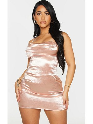 PrettyLittleThing shape hammered satin cowl ruched bodycon dress