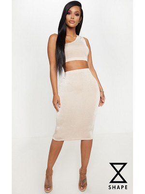 PrettyLittleThing shape high waisted slinky midi skirt