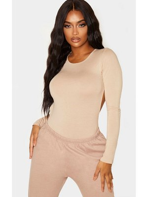 PrettyLittleThing shape jersey long sleeve backless bodysuit