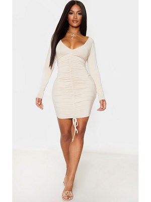 PrettyLittleThing shape jersey long sleeve ruched front dress