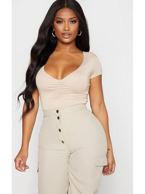PrettyLittleThing shape jersey ruched short sleeve bodysuit