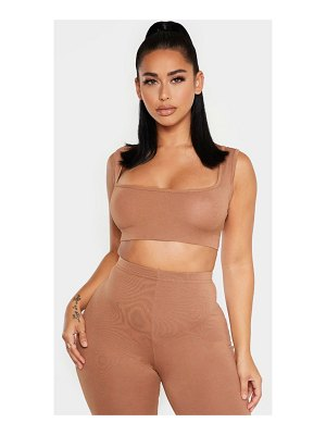 PrettyLittleThing shape jersey strappy crop top