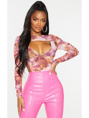 PrettyLittleThing shape marble mesh panel cut out detail bodysuit