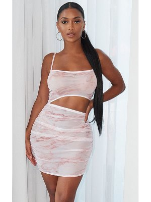 PrettyLittleThing shape marble print mesh cut out ruched bodycon dress