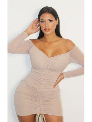 PrettyLittleThing shape mesh ruched bardot bodycon dress