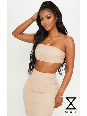 PrettyLittleThing shape mesh ruched strappy crop top