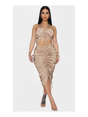 PrettyLittleThing shape nylon extreme ruched midi skirt