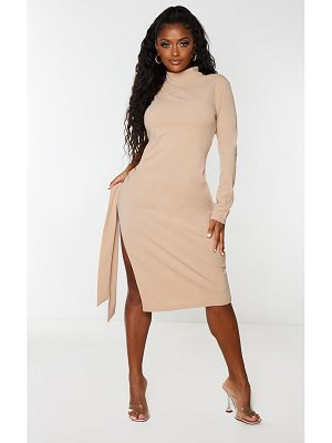 PrettyLittleThing shape one sleeve cut out tie side midi dress