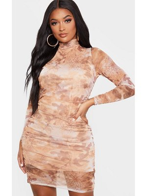 PrettyLittleThing shape oriental print long sleeve bodycon dress