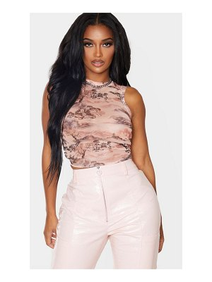 PrettyLittleThing shape oriental print mesh ruched side sleeveless crop top