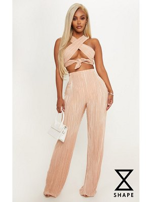 PrettyLittleThing shape pleated metallic wide leg pants