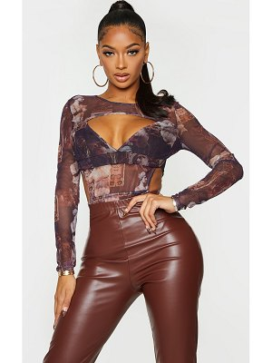PrettyLittleThing shape renaissance print mesh panel cut out detail bodysuit
