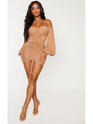 PrettyLittleThing shape rib bardot ruched front bodycon dress