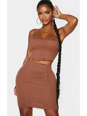 PrettyLittleThing shape rib corset detail strappy crop top