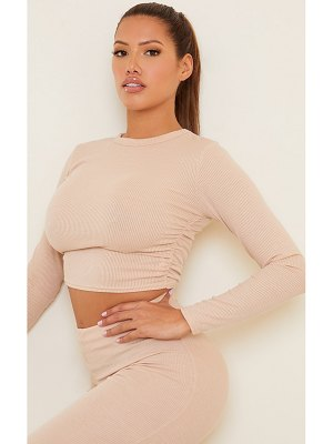 PrettyLittleThing shape rib ruched side long sleeve crop top