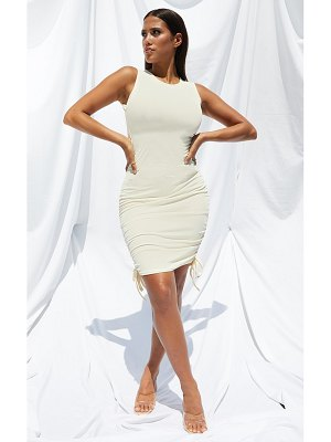 PrettyLittleThing shape rib ruched side sleeveless bodycon dress