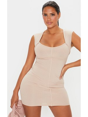 PrettyLittleThing shape rib seam detail square neck bodycon dress