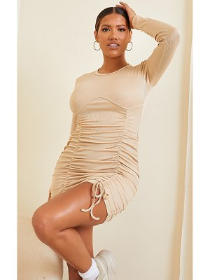 PrettyLittleThing shape rib underbust detail long sleeve ruched bodycon dress