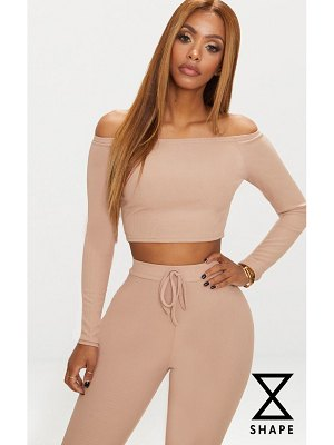 PrettyLittleThing shape ribbed bardot crop top