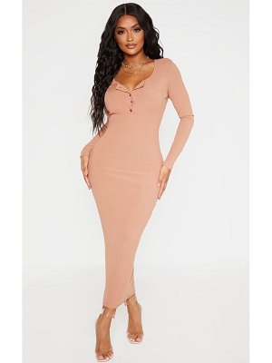 PrettyLittleThing shape ribbed button front long sleeve midaxi dress