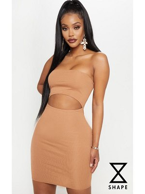 PrettyLittleThing shape ribbed cut out bandeau bodycon dress
