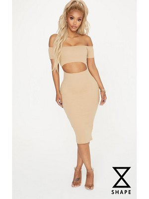PrettyLittleThing shape ribbed cut out front midi dress