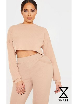 PrettyLittleThing shape ribbed long sleeve extreme crop top