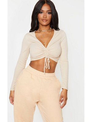 PrettyLittleThing shape ribbed long sleeve ruched front crop top