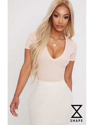 PrettyLittleThing shape ribbed plunge short sleeve bodysuit