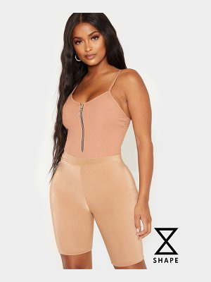 PrettyLittleThing shape ribbed ring pull bodysuit