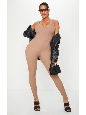 PrettyLittleThing shape ribbed scoop neck jumpsuit