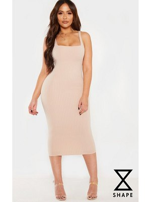 PrettyLittleThing shape ribbed square neck midi dress