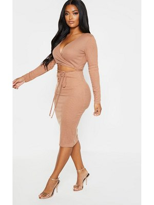 PrettyLittleThing shape ribbed wrap waist midi dress