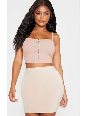 PrettyLittleThing shape ribbed zip front strappy crop top