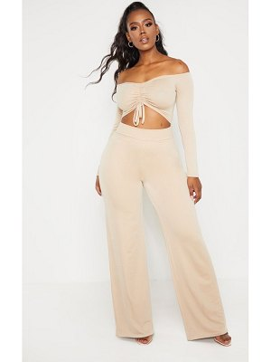 PrettyLittleThing shape ruched front bardot jumpsuit
