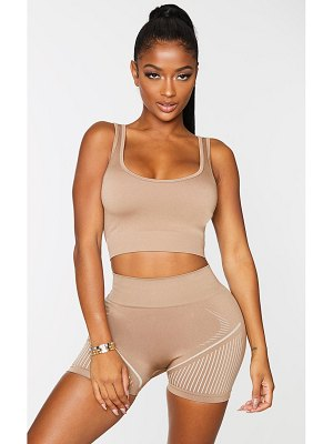 PrettyLittleThing shape seamless cut out back crop top