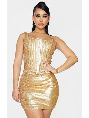 PrettyLittleThing shape sequin square neck corset detail top