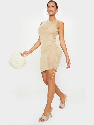 PrettyLittleThing shape sheer glitter ruched side bodycon dress