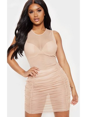 PrettyLittleThing shape sheer mesh ruched bodycon dress