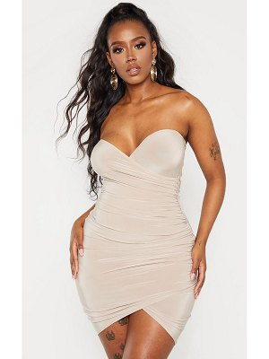 PrettyLittleThing shape slinky bandeau ruched detail bodycon dress
